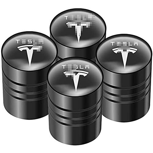 4 Piezas VáLvula de NeumáTico de AleacióN de Aluminio, para Tesla Model 3 Model X Model S, AutomóViles Tapas para VáLvulas de Polvo Universal de Sistema Antirrobo