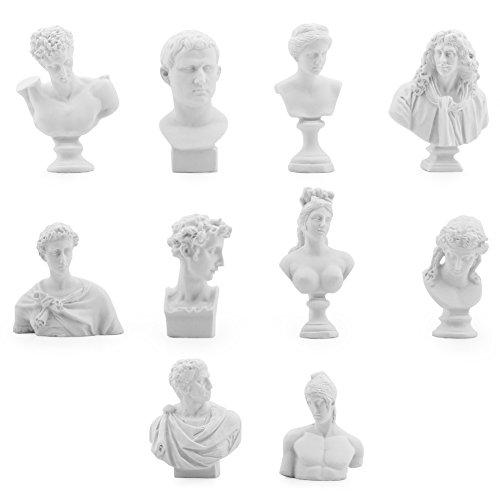 Owfeel Un Ensemble de 10différents Plâtre Buste Statues Résine Moulage Peinture Blanc 5,3- 7,6cm
