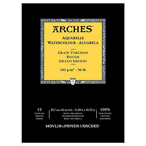 Arches - Bloc De Papel De Acuarela Con 15 Hojas, Grano Grueso, A3
