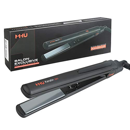 MHU Professional Salon Flat Iron with 1 Inch Plate Ceramic Tourmaline Ionic Hair Straightener and Curler Auto Shut Off