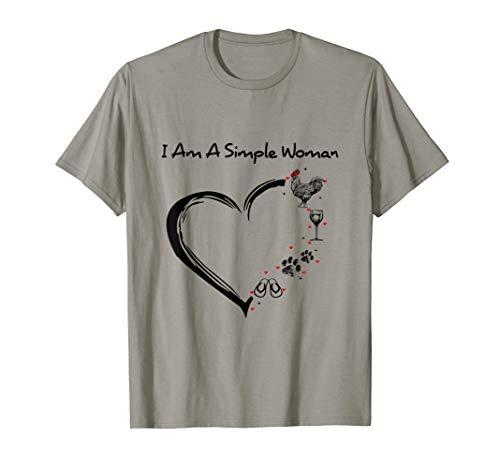 I'm A Simple Woman Heart Chicken Dog Flip Flop Wine Drinking T-Shirt