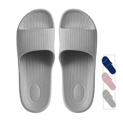 クモリ(Kumori)スリッパ 抗菌衛生EVA素材 室内履き サンダル 超軽量 滑り止め 男女兼用 トイレ用 歩きやすい シャワーサンダル バススリッパ グレー・XL(260-270)