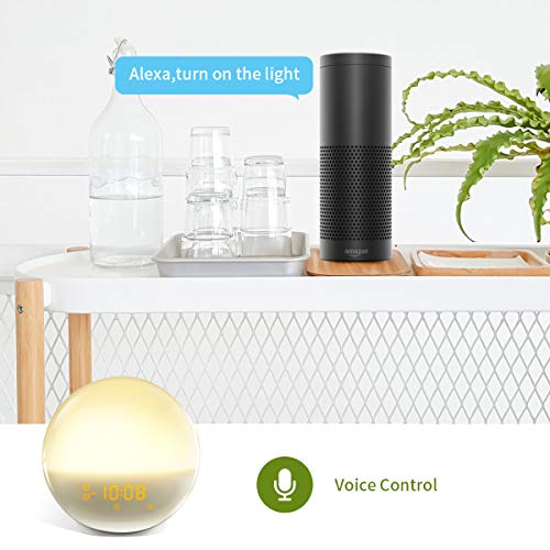Smart Wake-Up Light LARKKEY Sleep Aid Digital Dual Alarm Clock with 7 Colored Sunset Simul ation and FM Radio,WiFi Controlled Compatiable with Alexa and Google Home