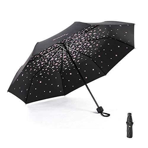 Meiyijia Paraguas Plegable, Mini Paragua,Paraguas Ultraligero, (99% UV Resistencia &100% Impermeable) Doble-Uso Paraguas Del Sol/Lluvia, Conveniente para Viajes(Flor de cerezo Negro Expandir 96cm)