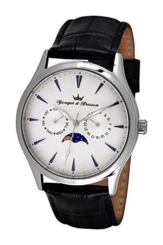 YONGER&BRESSON Herren Mondphase Quarz Uhr mit Leder Armband HCC 047/FA