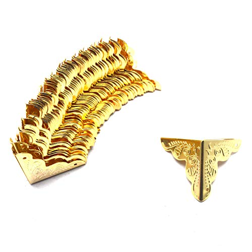 """Tulead Gold Chest Protector Box Corner Protectors Decorative Corner Bumpers Furniture Edge Guard 1""""x1""""x1"""" Pack of 50 with Mounting Screws"""