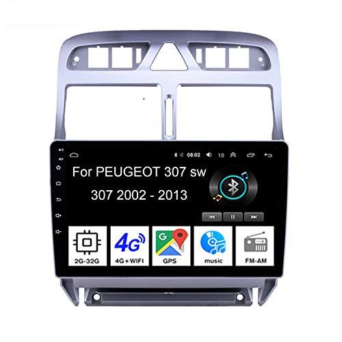 Android 10 Radio De Coche 9 Pulgadas Pantalla Tactil para Coche para Peugeot 307 sw 307 2002-2013 4 Cores 2G+32G Android Auto Coche Conecta Y Reproduce Coche Audio Video SWC Cámara Trasera