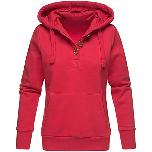 Kolila Kapuzenpullover Damen Sweatshirt Hoodie Lässige Einfarbig Kapuze Knopf Tasche Langarm Pullover Tops Tunika