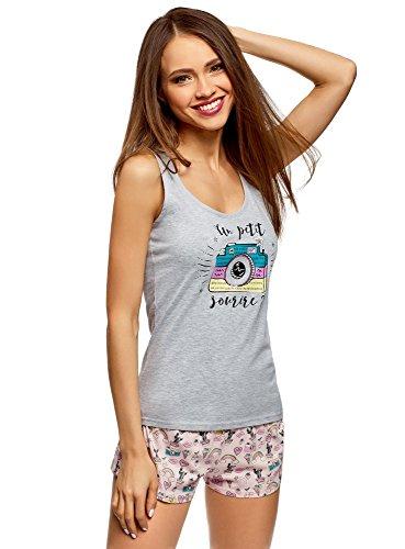oodji Ultra Damen Bedruckter Schlafanzug mit Pyjama-Shorts, Grau, DE 36 / EU 38 / S