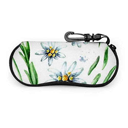 Estuche de gafas, Edelweiss Flower Leontopodium Alpinum Elements Set Gafas de sol Estuche blando Estuche de anteojos con cremallera de neopreno ultraligero con mosquetón, Estuche para gafas de sol pa