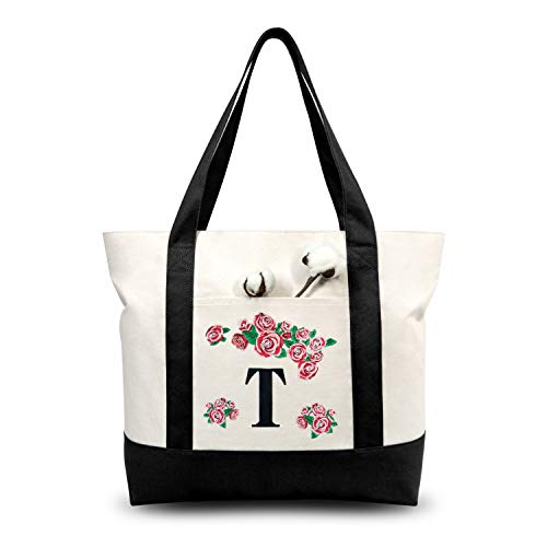 TOPDesign Stylish Personalized Embroidery Initial Canvas Tote Bag, Suitable for Bridesmaids Wedding Bachelorette Party (Letter T)