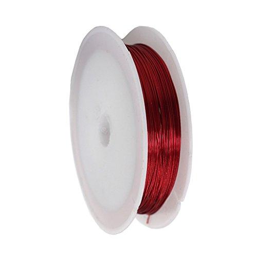 Desconocido Generic 11 Yardas/Rollo de Alambre de Hierro Artesanal de Metal para Pulsera, Collar, Suministros de Joyería - Rojo, Individual