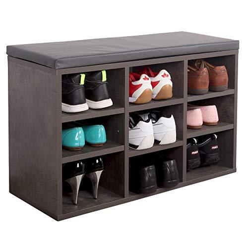 RICOO WM035-BG-A Schuhregal 79x49x30 cm Holz Beton-Grau Sitzbank mit Stauraum Schuhschrank mit Sitzkissen Schuhbank für den Flur Schuhablage