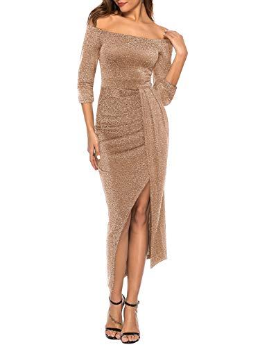 ZJCTUO Damen Kleid Abendkleid Schulterfreies Cocktailkleid Jerseykleid Skaterkleid Hochzeit Elegant Festlich Partykleid glänzend und hoch geschnitten brautjungfernkleider