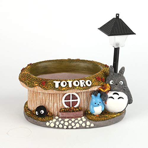 ZCPDP Cartoon Totoro Flower Pot Garden Decor Resin Creative Crafts Planters Home Office Bonsai Maceta de Plantas suculentas y luz LED Bicolor