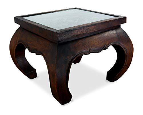 livasia Opiumtisch mit Glasplatte, Massivholztisch, Beistelltisch, Couchtisch mit Elefantenschnitzerei (Dunkelbraun)