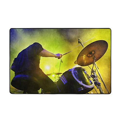 huagu Badematte Teppich,Junge spielt Schlagzeug Live-Konzert und Bühnenlichter Badezimmerteppich 75cmx45cm