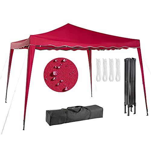 Arebos 3x3 Pavillon, Faltpavillon, Gartenzelt, Partyzelt, Festival - UV-Schutz - inkl. Heringe und Transporttasche - Anthrazit, Rot, Grün, Blau (Rot)