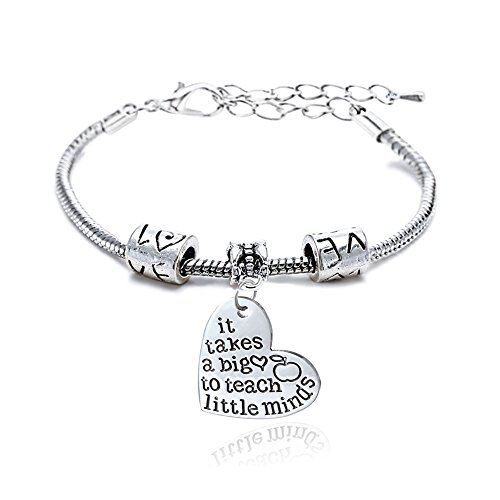 Pulsera ajustable para mujeres y hombres (regalo para maestros), con diseño de texto en inglés «It takes a big heart to teach little minds»