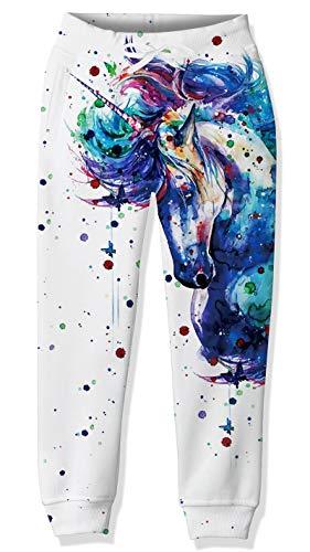 Lovekider Trainingsanzug Bottoms für Kinder mit Tunnelzug Elastische Taille Sweathosen Polyester Trainingsanzug Pants Schnelltrocknend Hose Jogging Sports Einhorn 8-9 Jahre