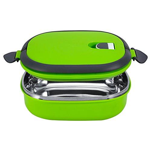 Caja de acero inoxidable para almacenamiento de alimentos, a prueba de fugas, con aislamiento para almacenamiento de alimentos, caja de almuerzo para cena, 1 capa, verde, para niños, trabajo y escuela
