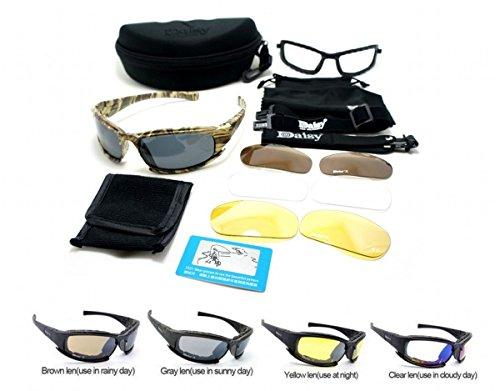 Nuevo Daisy X9 Camuflaje Polarizado Estilo militar Gafas deportivas tácticas Gafas al aire libre 4 lentes Gafas Gafas de sol Pescar Alpinismo Disparos y caminar
