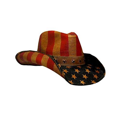 Peter Grimm Vintage Drifter Cowboy Hat - USA, American Flag, Patriotic, America