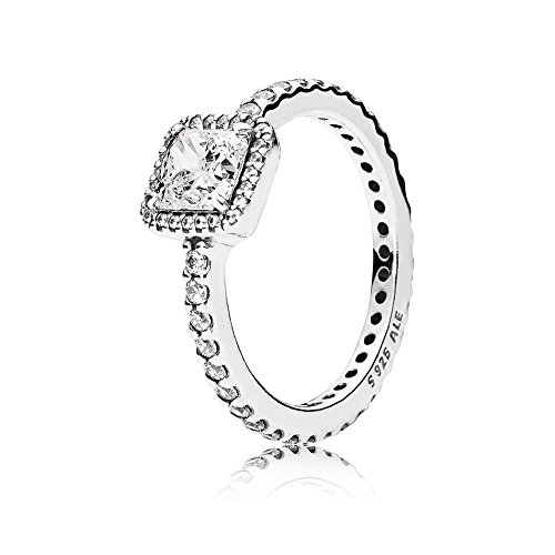 Pandora Jewelry - Square Sparkle Halo Ring for Women in Pandora Rose with Clear Cubic Zirconia, Size 7 US / 54 EURO
