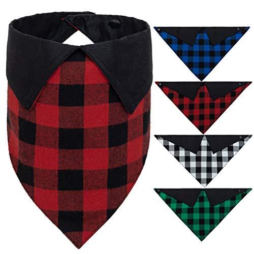 EXPAWLORER Hundehalstuch mit Druckknopf, kariert, 4 Stück mit Hemdkragen, Dekoration, Büffelmalerei-Lätzchen, Dreieckstuch, passend für kleine und mittelgroße Hunde