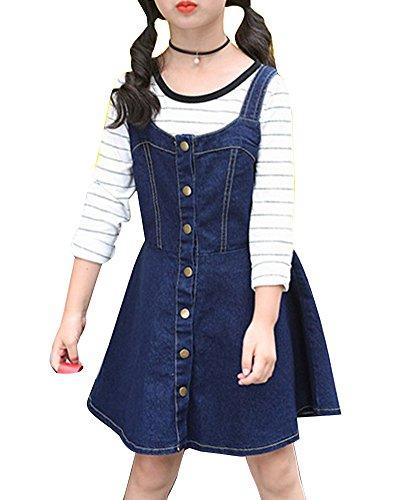 Guiran Mädchen Denim Latzkleid Denim Jeans Kleid Trägerrock Jeanskleid Latzrock Trägerkleid Blau