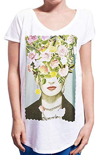 Street Frida Kahlo 18-30-5 Urban Slub Lady Mujer Algodón 100% Mod. TSULSLB blanco L/XL/50/70 cm