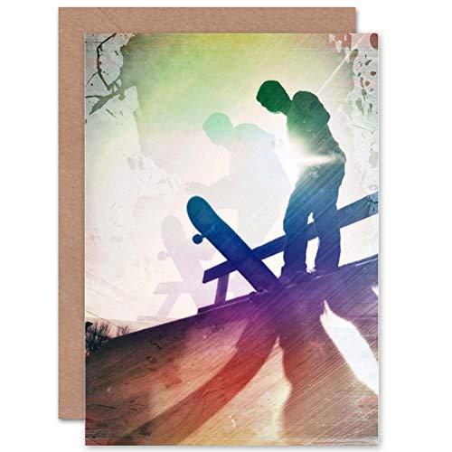 Wee Blauw Coo Cool Skateboard Grunge Stijl Sport Tiener Verjaardag Kunst Verzegeld Wenskaart Plus Envelop Blank binnen