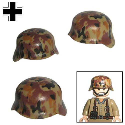 Custom Brick Design 3X M35 Stahlhelm Camo Design V.1 Wüste/Gebirge des DR im WW2 - Soldaten Waffe | Zubehör für Lego Figuren