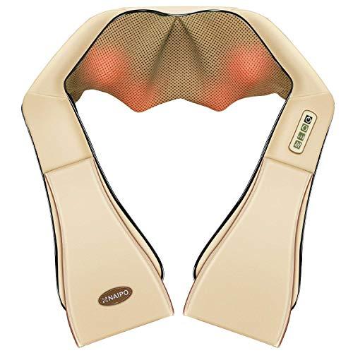 Naipo Massagegerät Nackenmassagegerät Shiatsu Elektrisch für Nacken Rücken Schulter Wärmefunktion mit 3D-Rotation Massage Einstellbaren Geschwindigkeiten 8 Massageköpfe für Haus Büro Auto Beige
