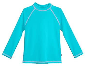 City Threads LS Little Girls  Rashguard Swimming Suit Swim Tshirt Tee UPF50+ Sun Protection for Beach Pool Summer Fun LS Turquoise/Pink 6
