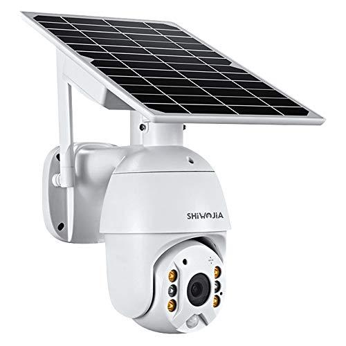 SHIWOJIA 1080P HD PTZ Cámara de Vigilancia WiFi para Exteriores, Cámara de Seguridad Exterior Batería Recargable, Energía Solar Audio Bidireccional, Detección de Movimiento, Intemperie IP66