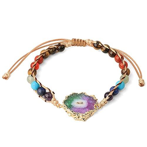 Stein Armband Damen,7 Chakra Perlen Stilvolle Handgemachte Natürliche Tigerauge Edelstein Bunte Kristall Druzy Verstellbare Zierliche Armreif Schmuck Geschenk Für Frauen Mädchen