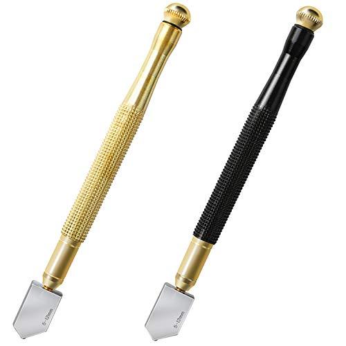 Juego de cortadores de vidrio para adolescentes, 2 piezas de 5 mm a 12 mm, punta de carburo de aceite, cortador de vidrio, color negro y dorado
