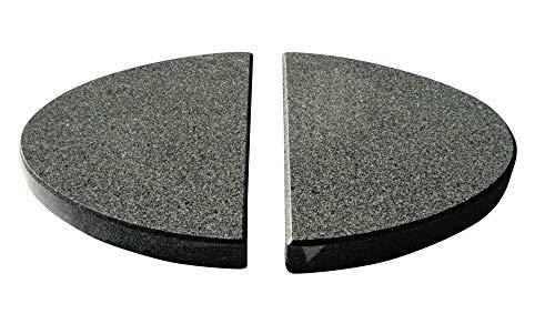 2 x Halbovaler Grillstein aus Granit für den Kugelgrill Rundgrill - 30cm Lang 20cm tief 3cm stark