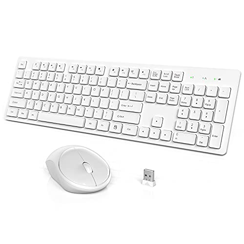 Wireless Keyboard and Mouse, WisFox Full-Size Wireless Mouse and Keyboard Combo, 2.4GHz Silent USB Wireless Keyboard Mouse Combo for PC Desktops Computer, Laptops, Windows (White)