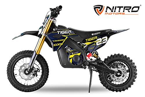 Dirtbike für Kinder Eco Tiger 1000W 36V Pocketbike Pitbike Bike Cross Offroad Elektro (Blau)