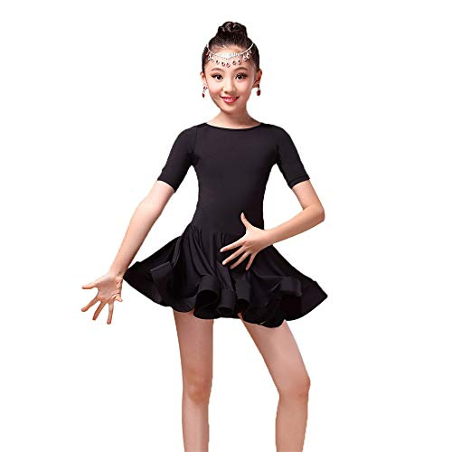 Faldas de danza para niña, Niñas niños Manga corta Spandex Latino Rumba Samba Vestido de baile Salón Ropa de baile Tutu Escenario Profesional Competencia Rendimiento Vestido de baile Disfraz Diseño el