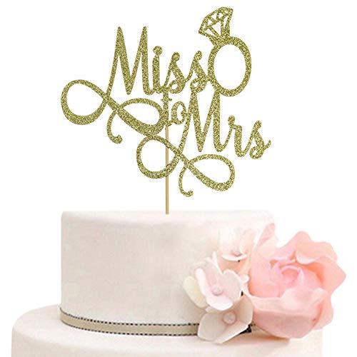 Miss To Mrs Cake Topper, Glitter Wedding Engagement Bridal Shower Bachelorette Party Decorations Supplies, Gold