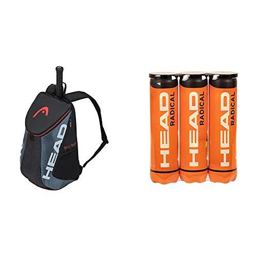 HEAD Unisex-Erwachsene Tour Team Backpack Tennistasche, schwarz/grau, Einheitsgröße & Radical Tennisball (3 x 4 Stück)