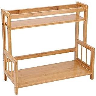 Organisateur de rangement pour étagère à épices de cuisine comptoir multifonction en bambou 2 couches étagère d'assaisonne...