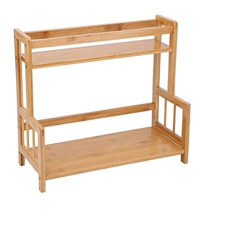 Kuchenny stojak na przyprawy organizer do przechowywania bambusowy wielofunkcyjny blat 2-warstwowy kuchenny stojak na przyprawy półka organizer do przechowywania