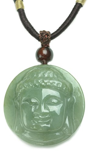 Gautama Mercy Lotus Buddha Kopf Jade Amulett Halskette - Fortune Buddhist Schmuck