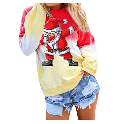 BATKKM Merry Christmas Printed Shirts Women's Contrast Color Long Sleeve Top BlousePullover Sweatshirt,Shipped in The US(Red,X-Large)
