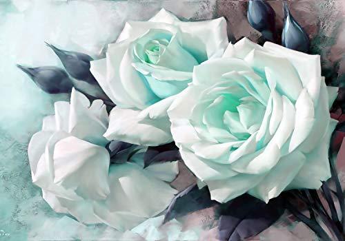 wandmotiv24 Fototapete Rosen türkis Rose, XL 350 x 245 cm - 7 Teile, Fototapeten, Wandbild, Motivtapeten, Vlies-Tapeten, Gemalt, Wand, Blumen M1774