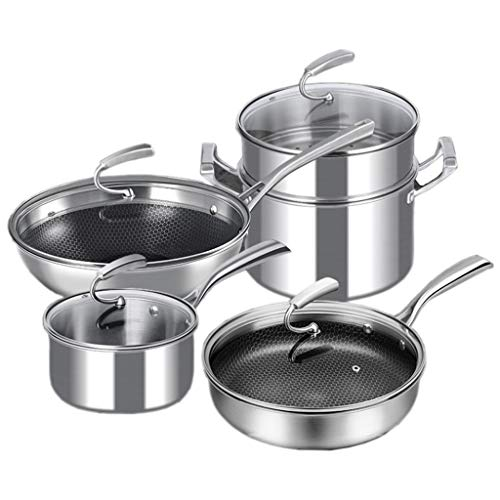 ZHAO YING Cookware Set Kitchenware Set Full Set Household 304 Stainless Steel Kitchen Wok Steamer Non-Stick Pan Milk Pot (Color : Silver)